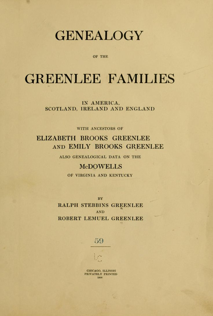 Genealogy of the Greenlee families in America