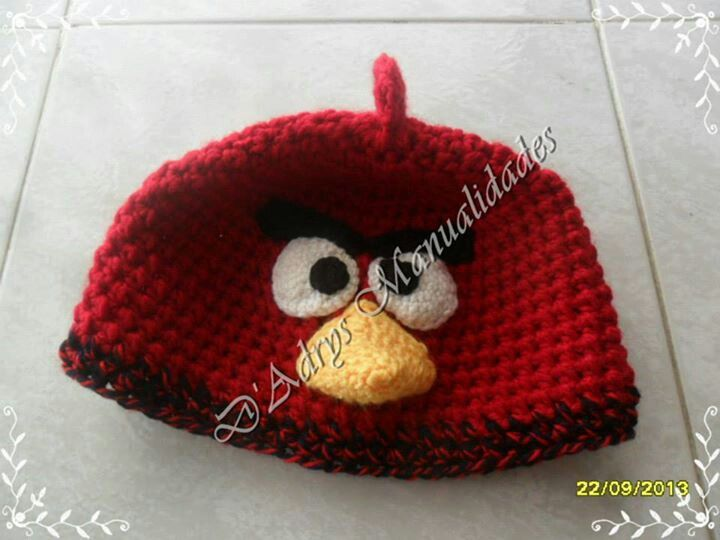 Gorro tejido de Angry BirdsDe Angry, Adrie Manualidades, Crochet Hats, Alma Lome, Tissue, Gorros Tejidos, Angry Birds
