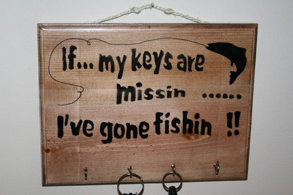 Rustic Fishing Signs | Fishing Key Rack Sign Funny Fishing Sign by NaturesGlow on Etsy