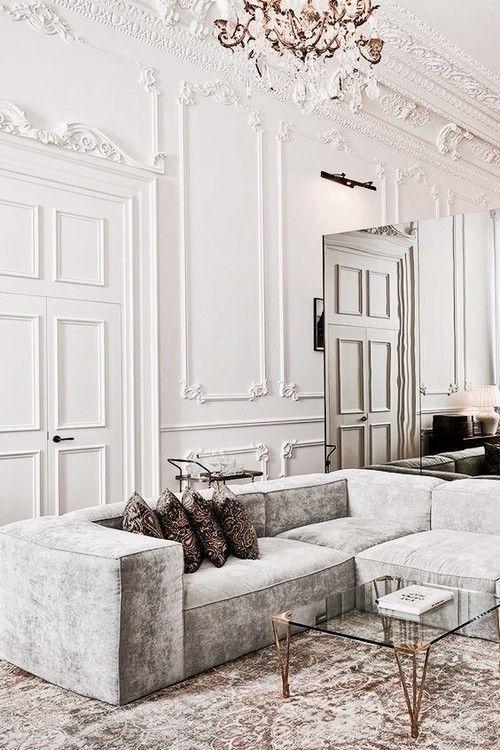 soft dusty tones* velvet sofa* parisian moulding* gorgeous*