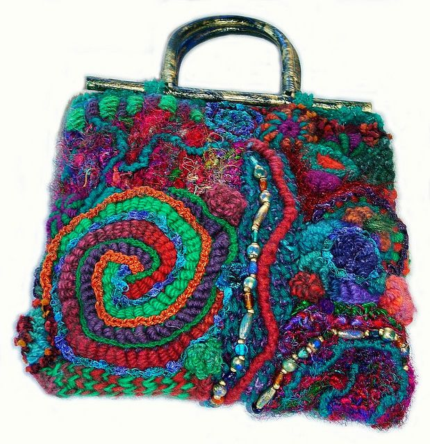 Freeform crochet handbag