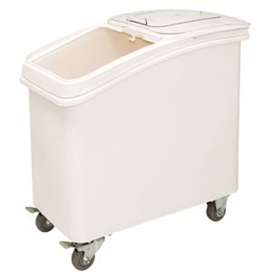 81Ltr Nisbets $229.90 Polypropylene ingredient bins with clear sliding lids for easy access. Moves easily because of fitted castors. Polycarbonate scoop included.