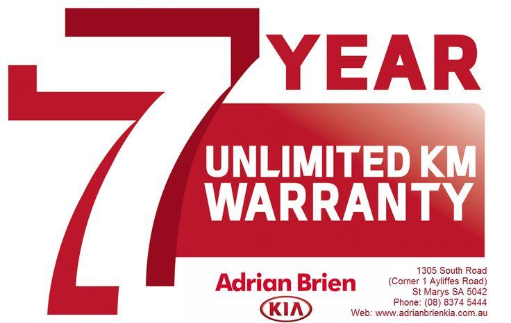 Adrian Brien Kia now offers you 7 years unlimited KM warranty on our range of new cars.  Adrian Brien Kia  1305 South Road (Corner 1 Ayliffes Road) St Marys SA 5042 Phone: (08) 8374 5444 Web: http://www.adrianbrienkia.com.au/