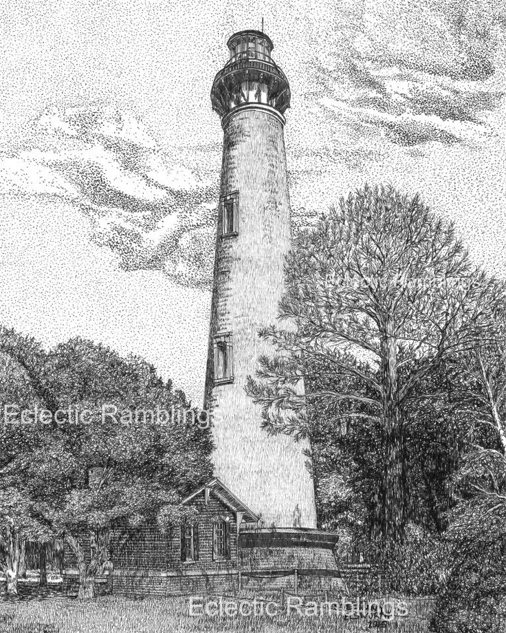Currituck Beach Lighthouse, Corolla, North Carolina Pen and Ink Print by EclecticRamblings on Etsy