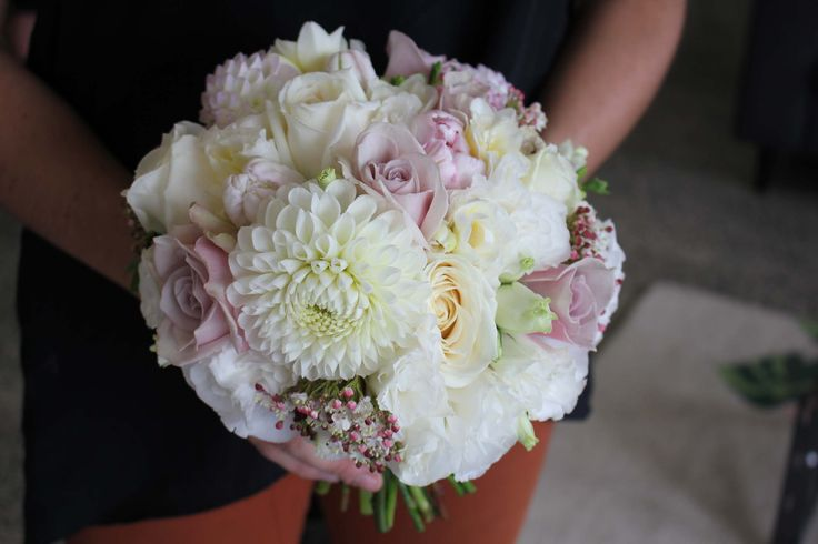 Dusky rose with ivory dahlia and lisianthus - Romantic wedding flowers made by Amy's Flowers