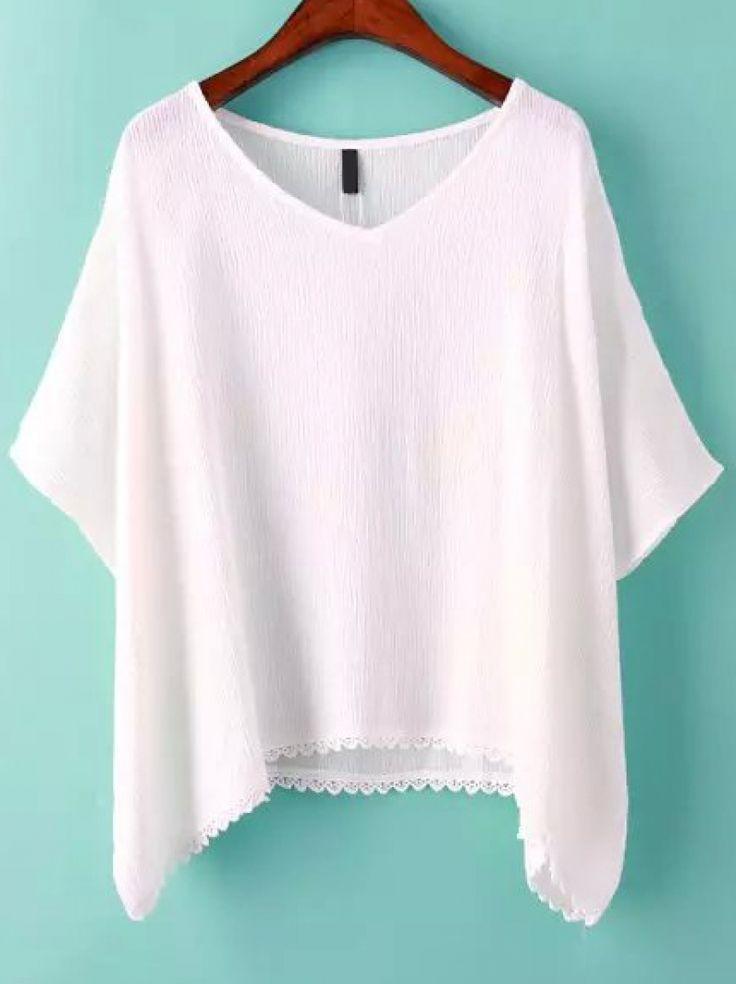 White V Neck Batwing Sleeve Loose T-Shirt