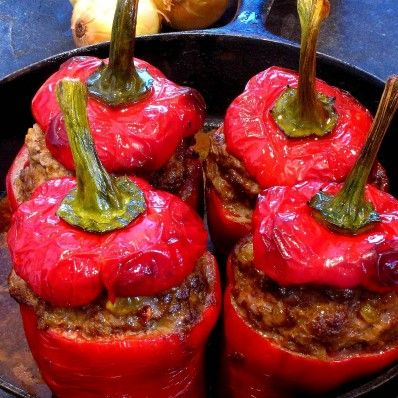 Meat-Stuffed Red Bell Peppers