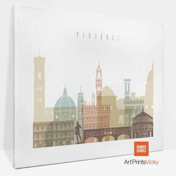 Florence Print Canvas Florence Skyline Canvas Art Florence Etsy In 2020 Florence Wall Art Florence Print City Prints