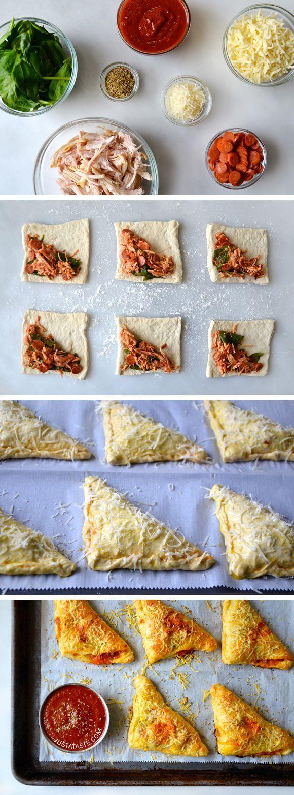 Cheesy Chicken Pizza Pockets #recipe on justataste.com
