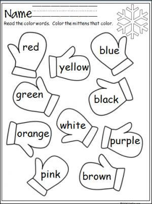 Free mitten color word practice. Great for Pre-K and Kindergarten during the winter.