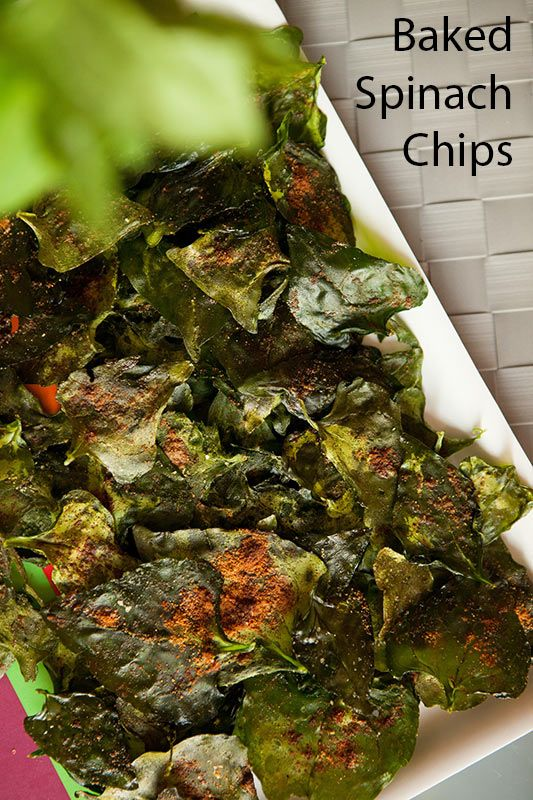 Baked Spinach Chips A healthy and delicious vegetable chip for you to snack on! These are easy to make, within a few minutes they will be ready to eat!