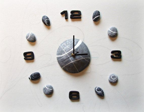 Large Wall Clock With River Stones Made Of Papier Mache Each Stone Represents One Hour Of Large Wall Clock Modern Unique Wall Clocks Scandinavian Wall Clocks