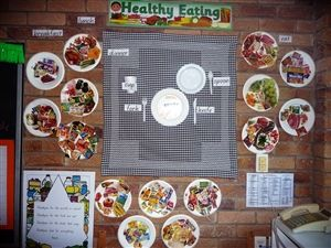 Healthy Food Display using a square tablecloth on wall and paper plates.