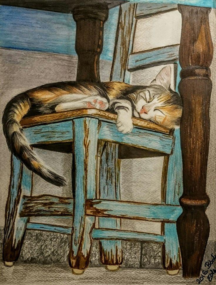 Akvarellpapír, akvarellceruza, filctoll