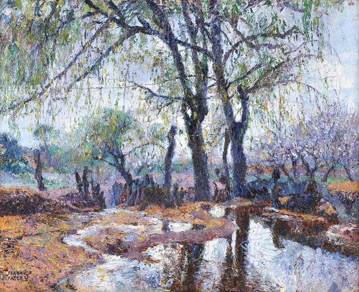 "FADER, Fernando Argentino 1882-1935 ""EL ESTANQUE"" (1923) Pintura al óleo sobre arpillera."