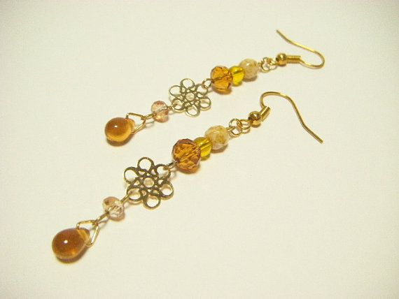 Topaz color earrings with filigree topaz dangle by Coloramelody