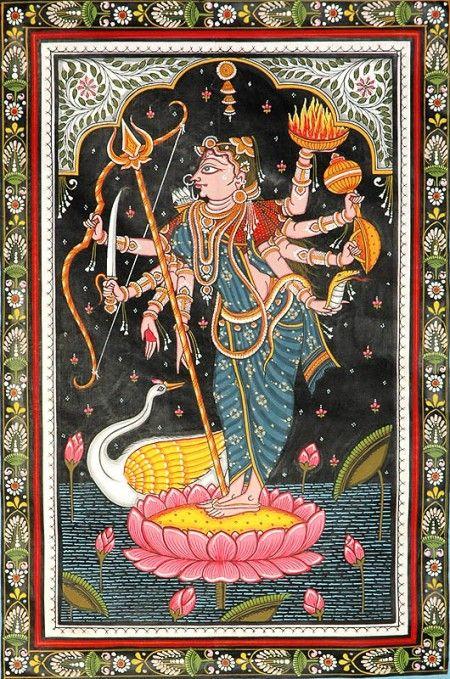 Mahadevi Patachitra Folk Art from Puri (Orissa) on Tussar Silk Fabric