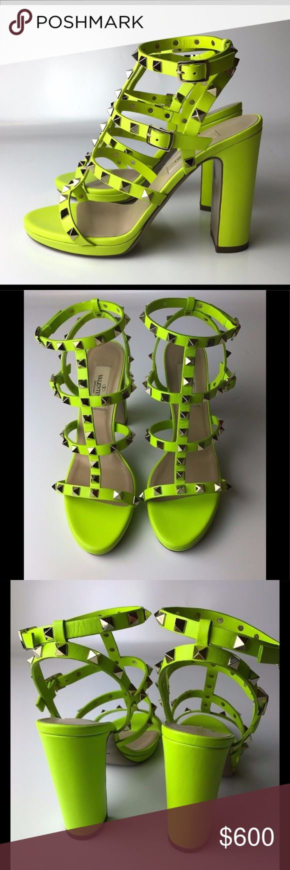 "Valentino Rockstud Neon Sandals / Pumps Euro 37 New, but have some flaws: ons scratch at the bag and patina / rust on hardware.  Come with box (no sticker on it), original dust bag and spare studs.    Insole is 9.6"" Heel is 4.33"" Platform is 0.6""  Please note, that European designer shoes typically run smaller then US designers. Christian Louboutin Shoes Sandals"