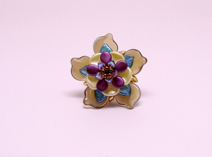Glass Rings – Purple brown flower ring – a unique product by DarkEyedJewels on DaWanda