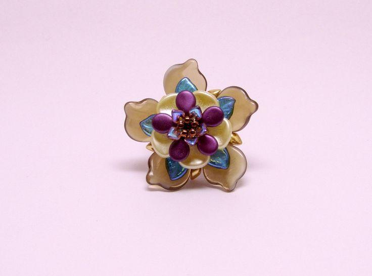 Glass Rings – Purple brown flower ring – a unique product by DarkEyedJewels on DaWanda
