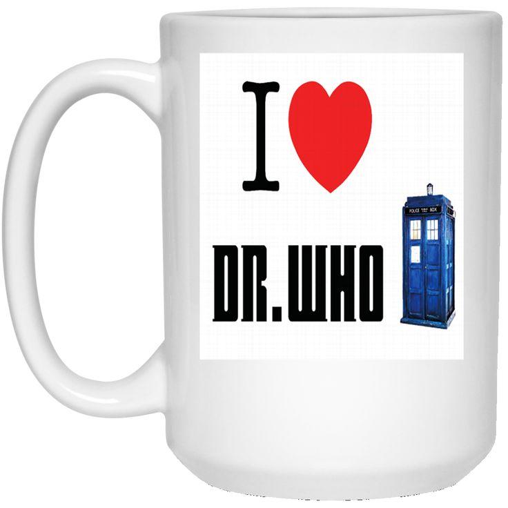 A I HEART LOVE DOCTOR WHO TARDIS TIME LORD DAVID TENNANT BILLIE PIPER BBC SCI FI MENS PREMIUM 21504 15 oz. White Mug