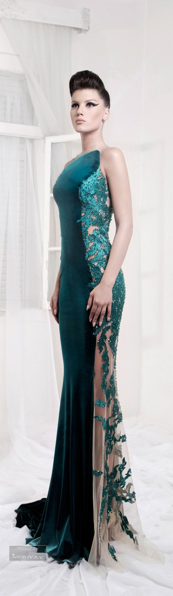 #eveninggowns - Beautiful Sheer sided evening gown with green beaded lace. We are custom dress makers from the US who can create an evening dress like this for you in any color or with ANY changes. Our design firm specializes in affordable custom evening dresses and replicas of haute couture pieces. Contact us for pricing and details no matter your size or location - http://www.dariuscordell.com/featured/custom-evening-dresses-couture-formal-ball-gowns/