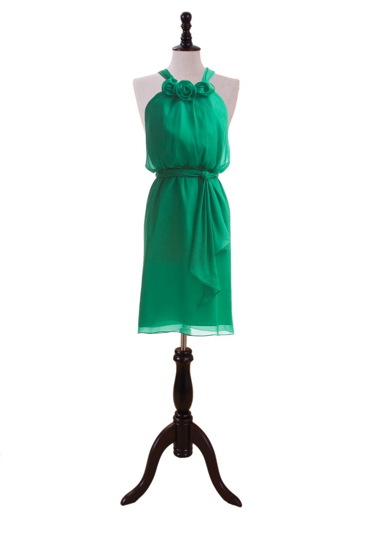 Fashionable Halter Blouson Chiffon Dress