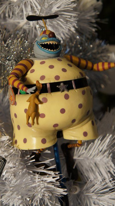 "From Greg Horn's custom Nightmare Before Christmas tree. ""I know a few people who are afraid of clowns."""