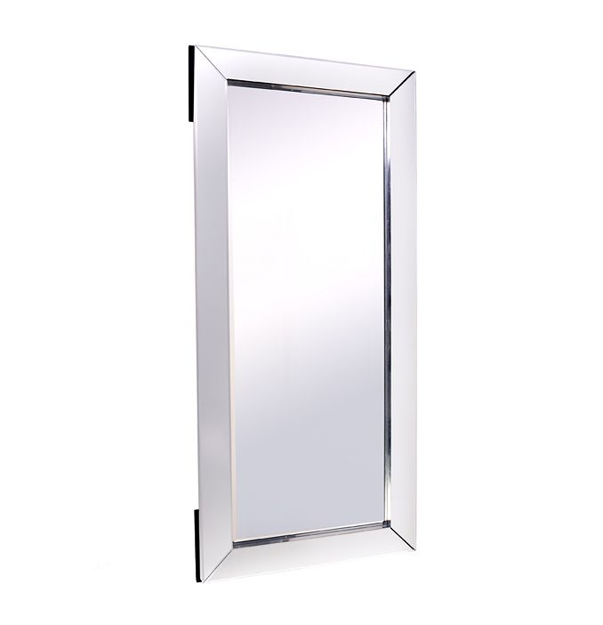 Winston Floor Mirror  Clear Mirror overlaid on solid wood frame with 4mm clear bevelled mirror glass and a stainless steel finished side edge  Dimensions:  90cm L x 5cm W x 200cm H Weight:49.00 kg