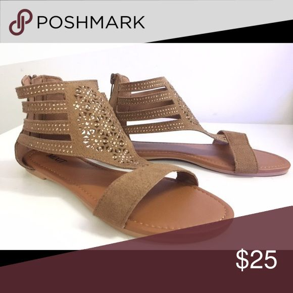 Ladies high top flare sandal. Brown color. NIB High top flat sandal with art details, back zipper, man made suede, true to size. Brown color and also available in Black and navy blue . Brand new in box. NO TRADES SHOEROOM21 boutique Shoes Sandals