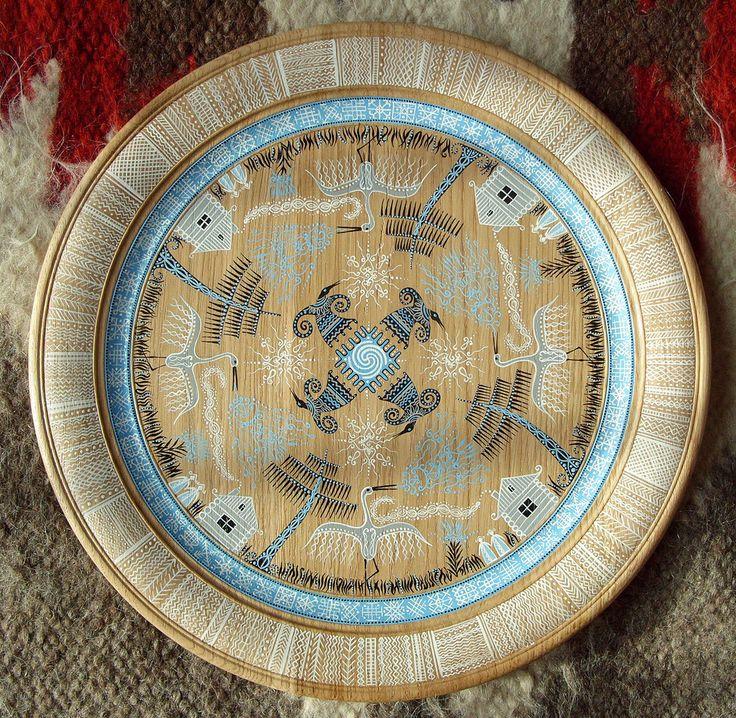 Ethnic hand-painted on wood. Slavic motifs on Behance