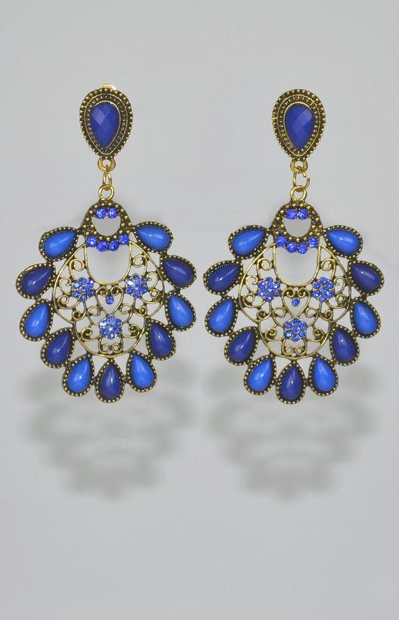 Boucles d'oreilles Clips bleues longues de 8,5 cm.