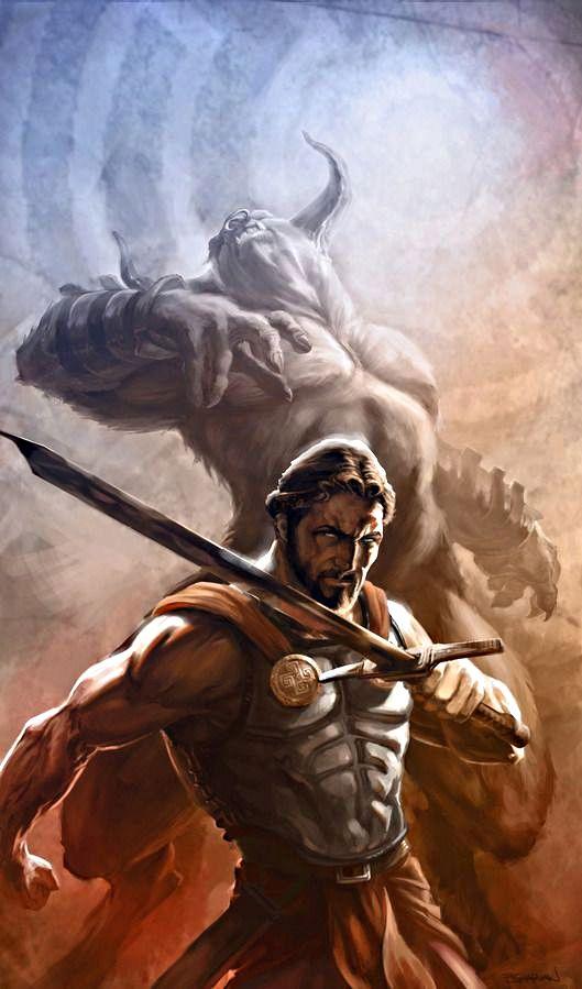 A Morte Do Minotauro Com Imagens Mitologia Grega Criaturas