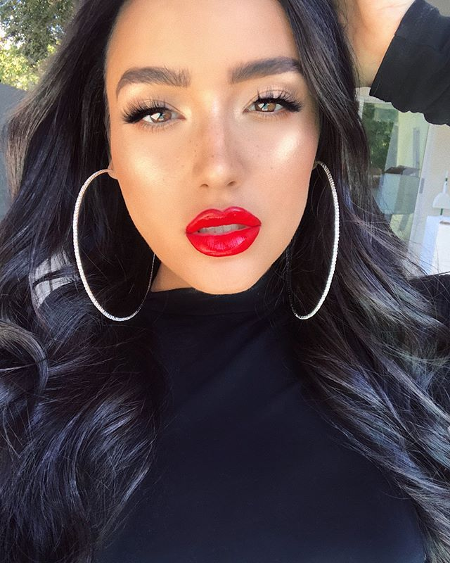 Black Hair Red Lipstick Hoops Amanda Ensing Highlight Brows