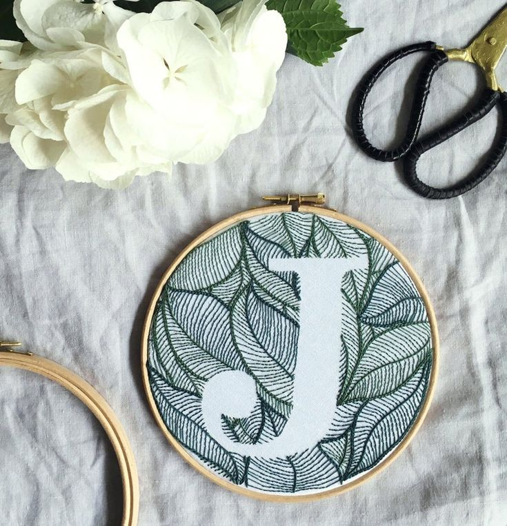 Personalized Leaves Design Hand Embroidery Monogram Hoop