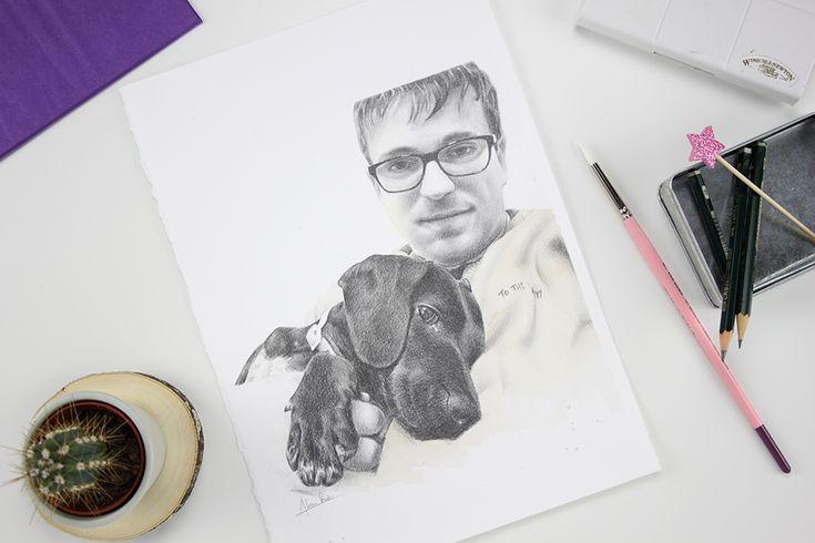 Retrato masculino con perro a lápiz y acuarela. Pencil drawing and watercolor portrait.