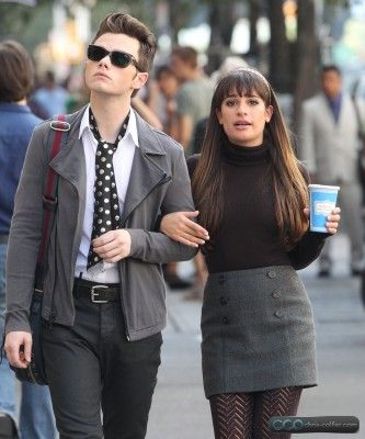 "Chris Colfer as ""Kurt Hummel"" and Lea Michelle as ""Rachel Berry"" on the set of Glee- looking fabulously flustered in the Big Apple. :)"