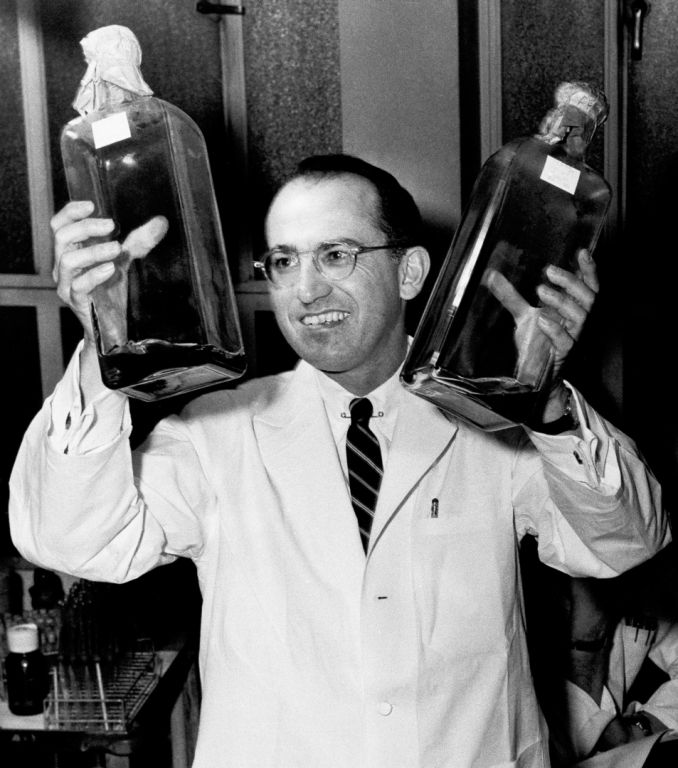 Two Bottles That Changed the World (Jonas Salk w/cultures used to grow polio vaccine).