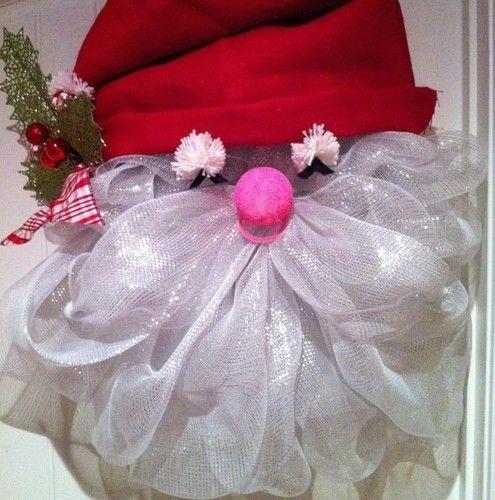 Christmas Santa Deco Poly Mesh Wreath | eBay
