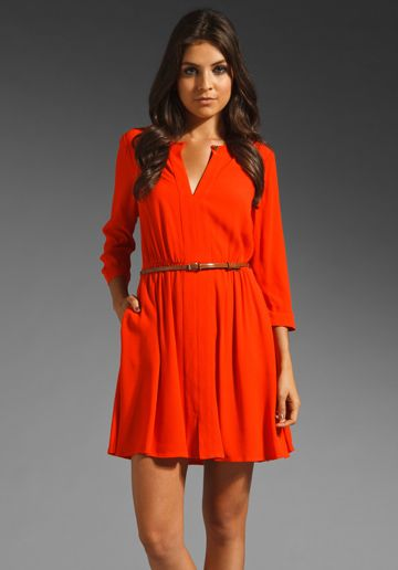 JUICY COUTURE Crepe Belted Dress in Firecracker Red at Revolve Clothing $228