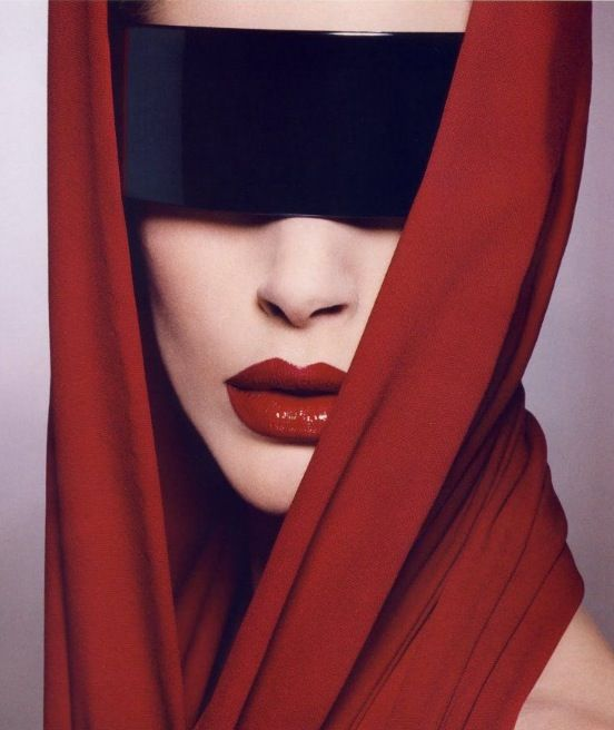 Red Lips and Black Blindfold. Editorial Makeup.