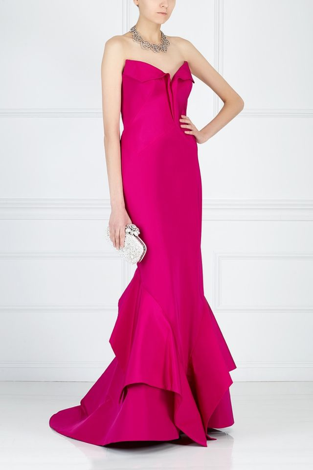 Шелковое платье-бюстье Zac Posen - Ни одно значимое светское торжество не может обойтись без нарядов Zac Posen в интернет-магазине модной дизайнерской и брендовой одежды