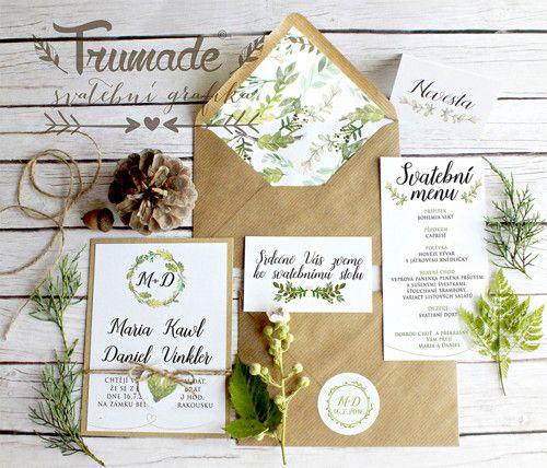 Svatební oznámení - přírodní lístečky