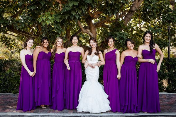 Long, bright purple bridesmaid dresses - fall wedding bridesmaid dress idea {William Innes Photography}