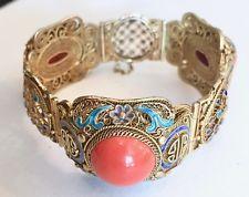 Vintage Chinese Export Vermeil Silver Bracelet Coral & Multi Color Enamel Design