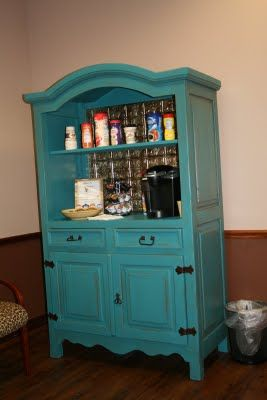 Remodeled and painted armoire. I will have a coffee and tea bar in our next house