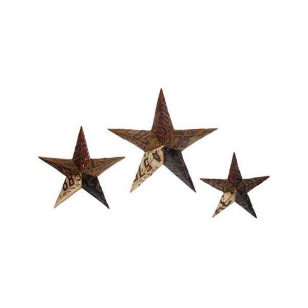 License Plate Metal Star Wall Decor Set Of 3 (u20ac29) ❤ Liked On