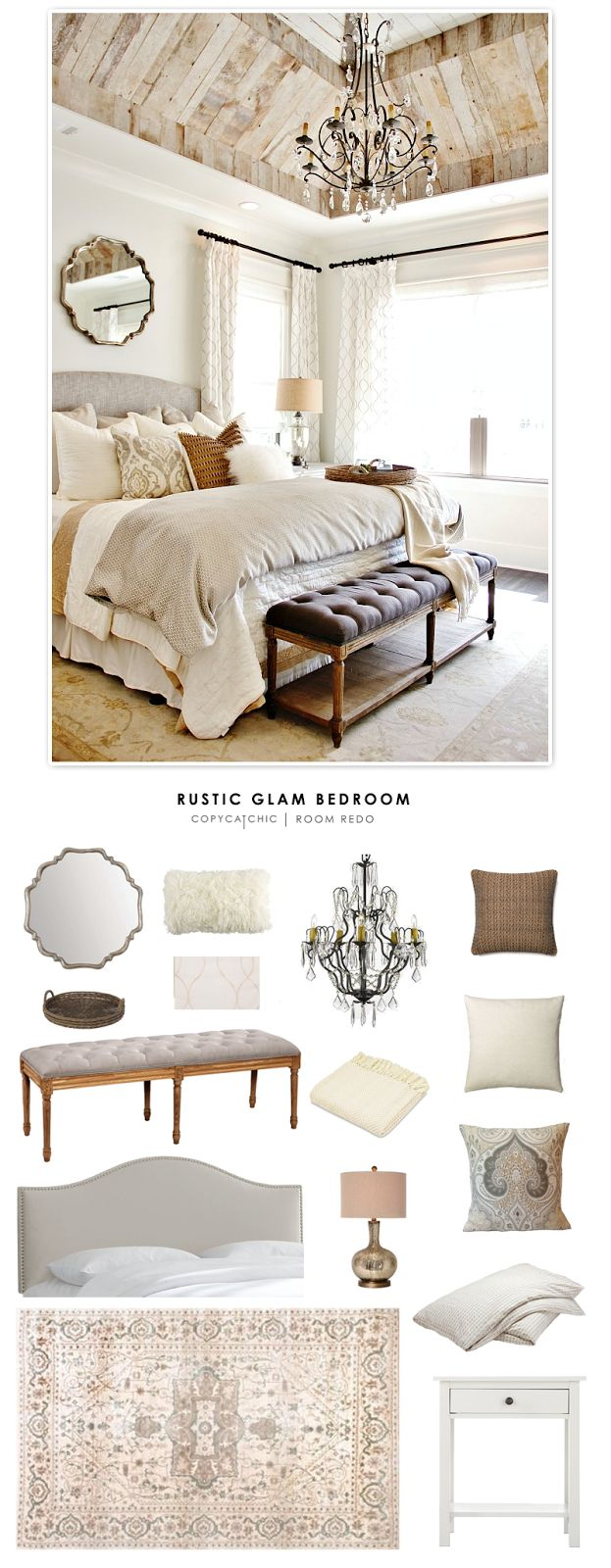 A rustic glam bedroom designed by Refresh Home and featured by Thistlewood Farms recreated for less by Copy Cat Chic. by @audreycdyer