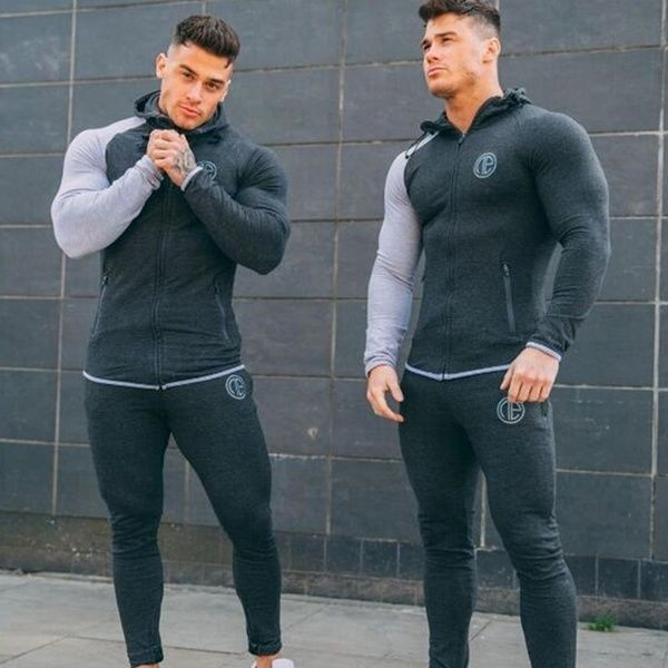 Men Sports Pants Casual Elastic Cotton Mens Fitness Workout