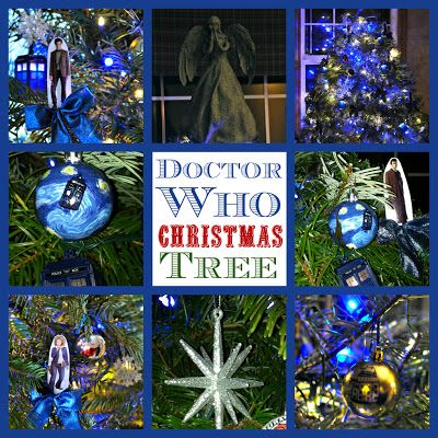 Doctor Who Christmas Tree with Weeping Angel Topper! Love this tree! Great DIY ideas for ornaments.